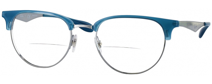 7471bc2ade Matte Transparent Grey Ray-Ban 6396 Bifocal - ReadingGlasses.com