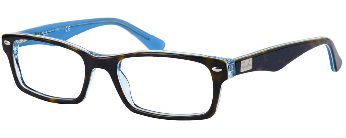 Top Havana / Transparent Blue Ray-Ban 5206 Single Vision Full Frame ...