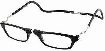 Clic Half Frame Black Reading Glasses : Mens Clic Reader Frames - ReadingGlasses.com
