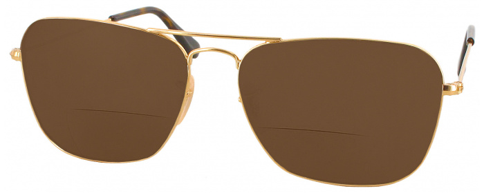 810734e0bc2 Gold Ray-Ban 3136 Caravan Polarized Bifocal Reading Sunglasses ...